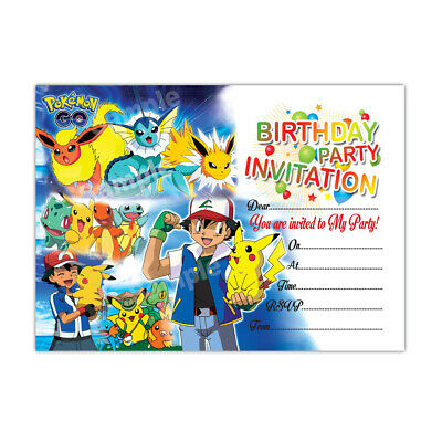 20 x Pokemon Go Kids Birthday Party Invitation | Girls Boys child FREE DELIVERY