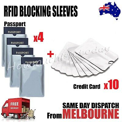 4x Passport & 10x RFID Blocking Credit Debit Card Protector Sleeve Shield Holder
