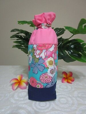 Insulated baby bottle holder-Oriental flowers-Aqua-Fits all baby bottle sizes.