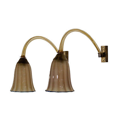 Pair of Wall Lamps Brass and Glass Vintage Manufactured in Italy 1930s-1940s