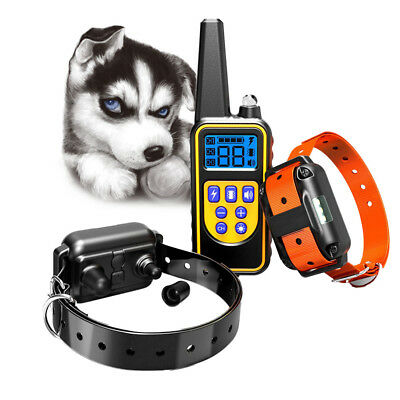 Waterproof 2 Dog Remote Training Collar Rechargeable Electric Shock Control LCD