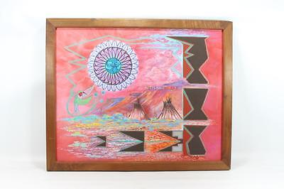 """Painting Native American Norman Lansing Ute Tribe """"Summers Allie II"""" 1993 Framed"""