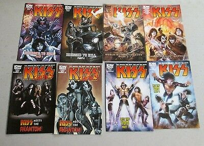 KISS 1-8 MIXED Cover Set IDW FIRST PRINTING Gene Simmons Paul Stanley Ace Peter