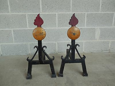 "Vintage Pair Hand Forged Mid Century Style Andirons 21.5""H x 13""D"