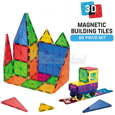 Magnetic Tiles 3D Clear Colour Building Blocks Toy Construction Play Toy 60PCS