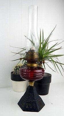 Original Vintage Antique Cranberry Glass Victorian Oil Lamp - Cast Iron Base
