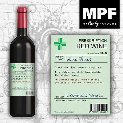 Personalised Novelty Prescription Wine Bottle Label - Birthday/Christmas Gift