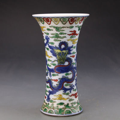 China old antique Porcelain hand painting MING LONGQING colour dragon cloud vase