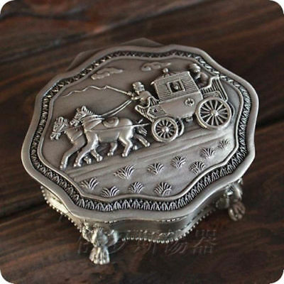 Tibet silver carved horse-drawn carriages jewelry box