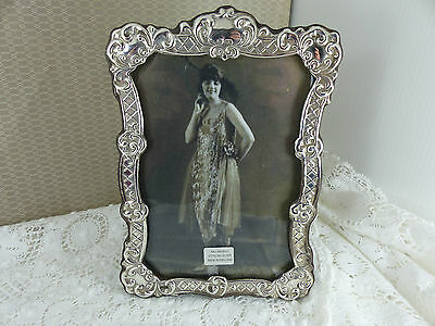 Antique Style Britannia Silver, 958 Quality wooden back Photo Frame,7'' x 5''