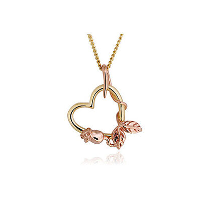 "Official Welsh Clogau Yellow & Rose Gold Glyn Rhosyn Pendant (18"") £200 off!"