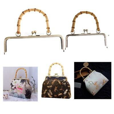 Metal Purse Frame Bamboo Handle Kiss Clasp Purse Handbag Frames DIY Accessories