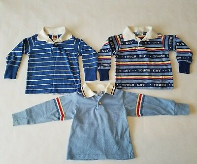 VINTAGE Carters 1970's 80s Toddler Boys Rugby Shirts Striped Tough Guy Sz 18mo