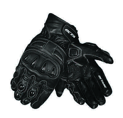 Motorbike / Motorcycle Gloves, Octane North, Leather, Black, Carbon, Kevlar