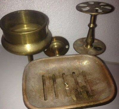 Antique Brass Bathroom Sink Accessory Holder Cup/Soap Steampunk Toothbrush