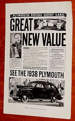 Illustrator For 1938 Plymouth Touring Sedan Vintage Ad - American Retro 30S