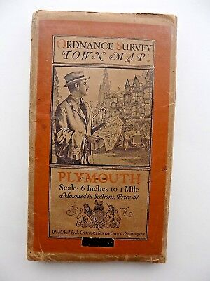 1920 Plymouth Town Map Ordnance Survey Ellis Martin Vintage Illustrated Cover