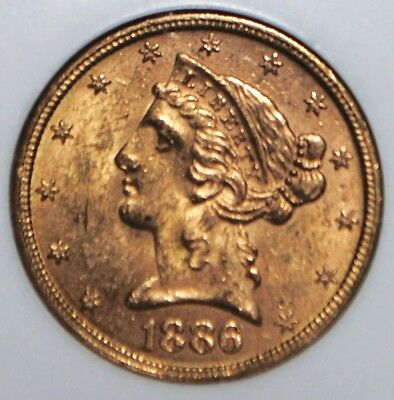 1886-S $5 Gold Liberty Head Half Eagle NGC MS 62