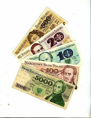 Poland Lot Of 5 Different Banknotes (Lot 2) Vg Or Better 3.95