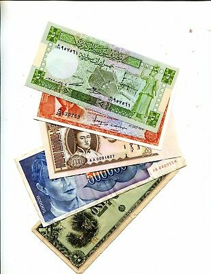 Syria Plus 4 Other Different Foreign Banknotes Vg Or Better 3.95