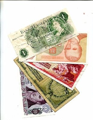 United Kingdom 1 Pound Plus 4 Other Different Foreign Banknotes Vg - Better 3.95