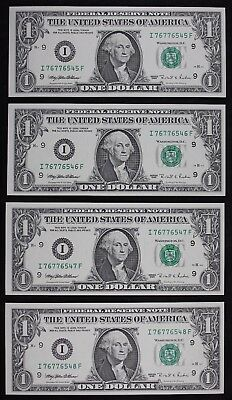 Four $1 1995 CU with bp 295 Engraving Error Federal Reserve Notes I76776545F-48F