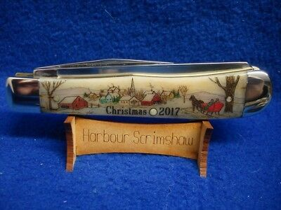 Case Knife - Harbour Color Scrimshaw  Limited Edition Christmas 2017 - Village