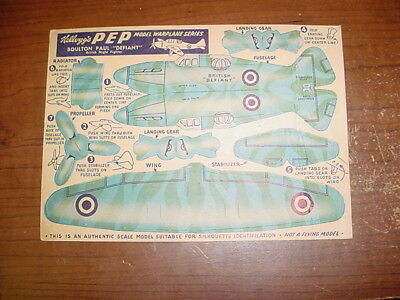 Kellogg's Pep Punch Out Defiant Airplane