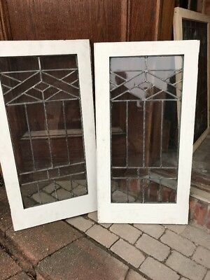 SG 1662 match Pair antique leaded glass cabinet doors 40.5 wide by 39.25 hi