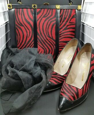 Vintage Purse Shoes and scarf set Red Zebra Print H Koro Creation Andrew Geller