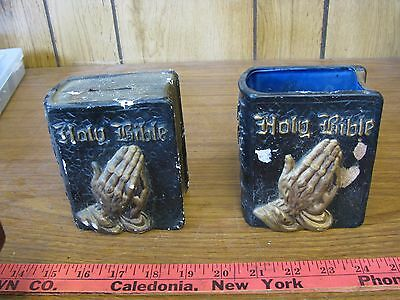Old Vtg Ceramic Holy Bible Praying Hands Still Savings Bank and pen holder set