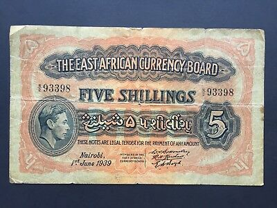 East African Currency Board 5 Shillings P26A dated 1st June 1939 Fine