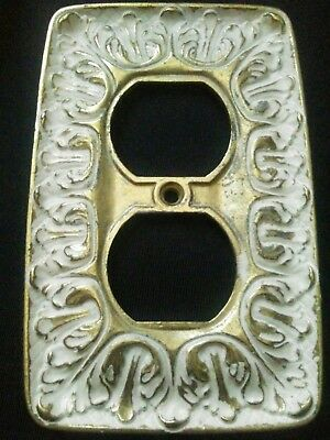 Vintage Ornate Gold White Wash Metal Wall 1 Gang Outlet Plate Cover Decorative