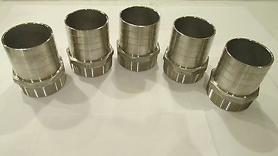 """5-New!! 3"""" stainless steel hose barb X 3"""" male NPT fittings"""