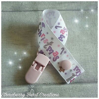 My First Christmas Dummy Clip Pacifier/Keep Safe, Handmade. Reindeer Stag Baby