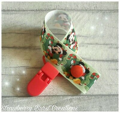 My First Christmas Dummy Clip Pacifier/Keep Safe, Handmade. Mickey Mouse Disney