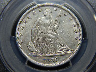 1839 50C Seated Liberty Half Dollar With Drapery AU-55 PCGS, Hard to Find! Nice!