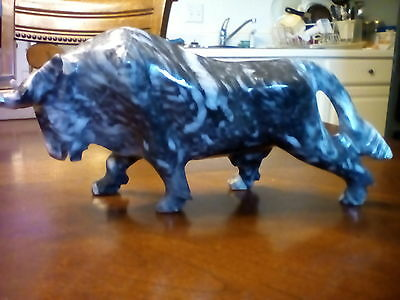 Vintage Mid Century Hand Carved Grey White Solid Marble Toro Bull Figure Statue
