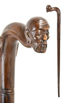 BEARDED MAN wooden walking stick / cane - hand carved from hardwood - BOXED item