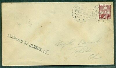 GREENLAND 1941 5ore tied INVIGTUT on censored cover to U.S. via R.M.S. CANADA