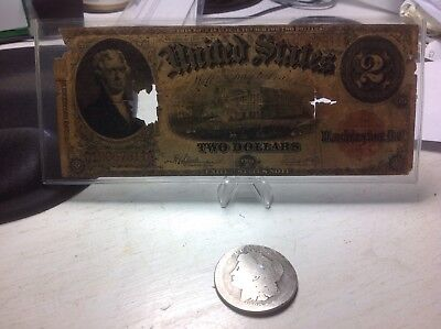 1917 $2 large note with a cull 1880 S Morgan Silver Dollar