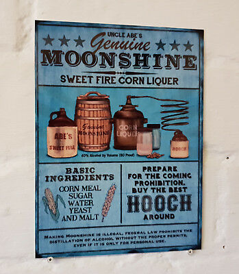 Moonshine hooch Retro metal Aluminium Sign vintage bar pub man cave beer signs