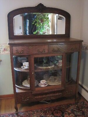 Antique Tiger Oak Sideboard/Buffet W Rare Curved Glass China Cabinet