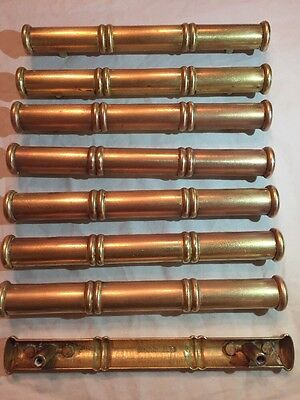 Hollywood Regency Brass Faux Bamboo Drawer Pulls Marked KBC