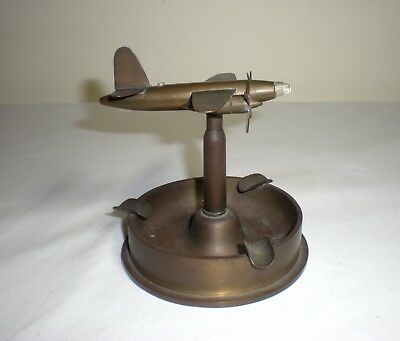 Vintage WWII Trench Art Bomber Airplane/Plane Ashtray/From Shell Casings/WW 2
