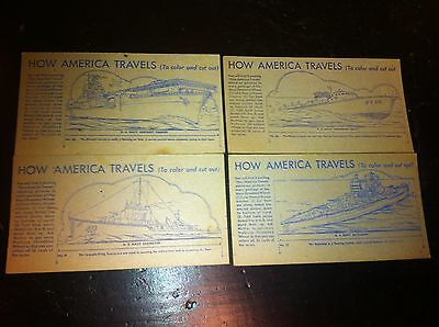 Vintage 1940s Nabisco Shredded wheat U.S. Navy Ships  4pc  How America Travels