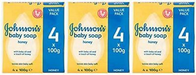 Johnson's Baby Soap with Baby Oil and a Touch of Honey, 100 G / 3.5 Oz Each, 4 C