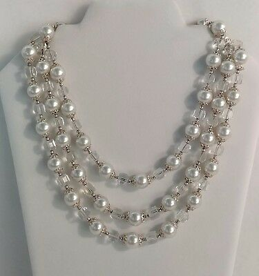 "Stunning Vintage 18"" Signed Japan 3 Strand Pearl And Clear Beaded Necklace"