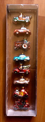 Department 56 Christmas Ornaments Set of 8 vehicles and Cars, NIB