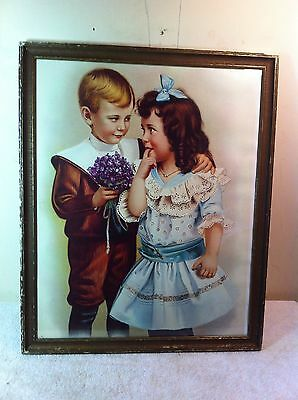 Antique Wood glass frame with Reproduction lithograph Young Love